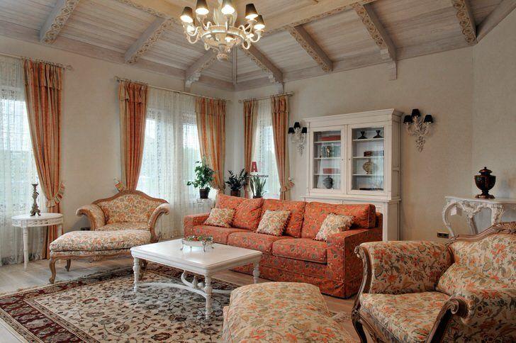 Милая гостиная в стиле прованс для истинной леди. Фото