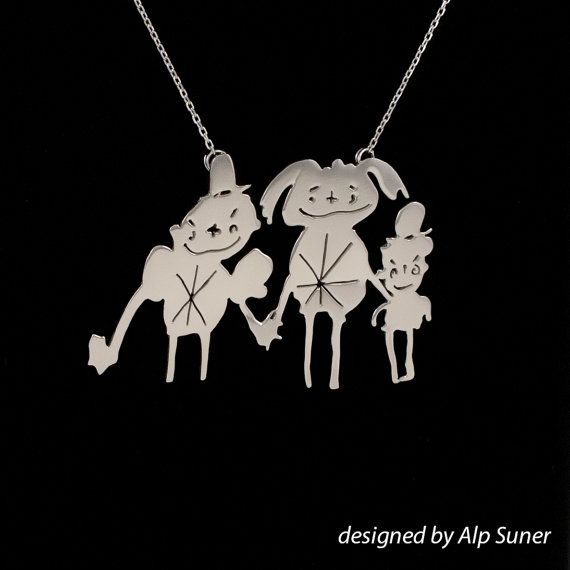 Turn your children drawings to unique & precious necklaces, a perfect personalized gift.  This three figured necklase is a large jewery. And