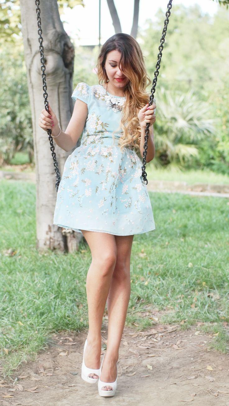 Abito Celeste Corto mini romantic blue dress