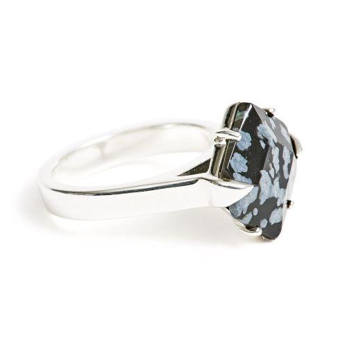 Ring Silver Snowflake Obsidian