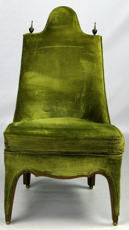 Henredon Green Velvet & Walnut Sculptural Slipper Chair | From a unique collection of antique and modern slipper chairs at https://www.1stdibs.com/furniture/seating/slipper-chairs/