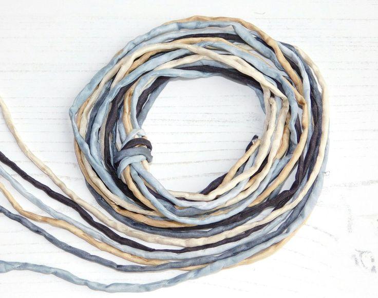 7.50$ - Hand dyed Silk Cords  - Set of 6 - black grey silk ribbons bracelet necklace