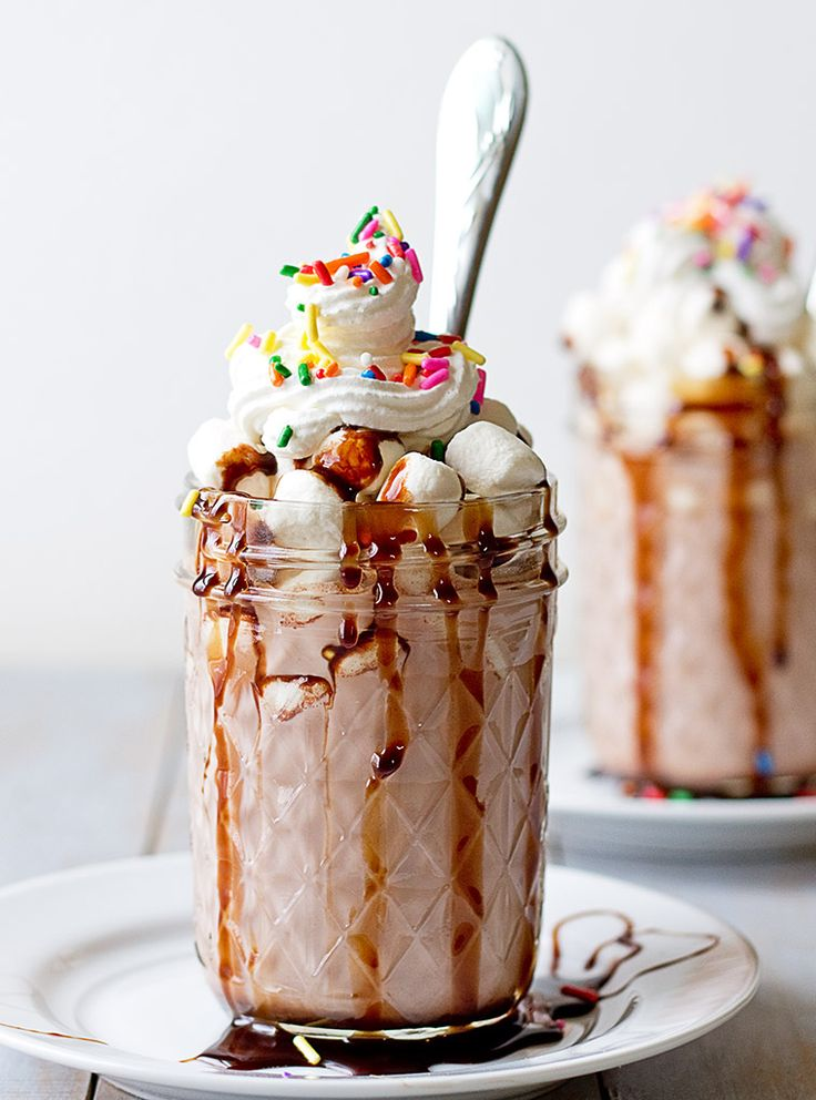 hot cocoa mix, milk,  half & half , instant coffee or espresso,  mini Hot Hot Cocaccino -       marshmallows, chocolate syrup, whipped topping  garnish with sprinkles for garnish