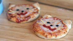 Pizza con cara de gatito