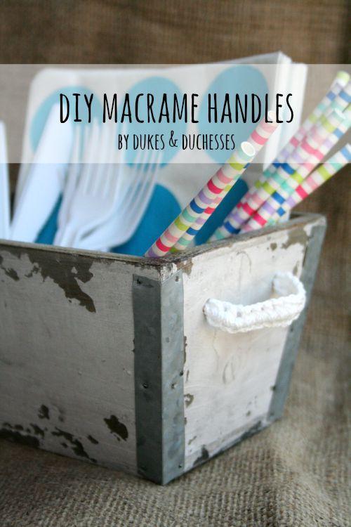 Diy Macrame Handles Macrame Baskets And Boxes