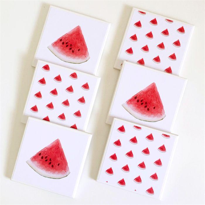 Watermelon Coasters - 6 Ceramic Tile Drink Coasters Watercolour Watermelons   Studio Astratta   madeit.com.au