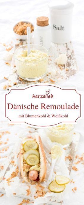 Dänische Remoulade selber machen - ganz einfach und leicht mit diesem Rezept von herzelieb. In Dänemark muss Weißkohl und Blumenkohl in der Mayonaise sein! #Dänemark #hotdog #dip