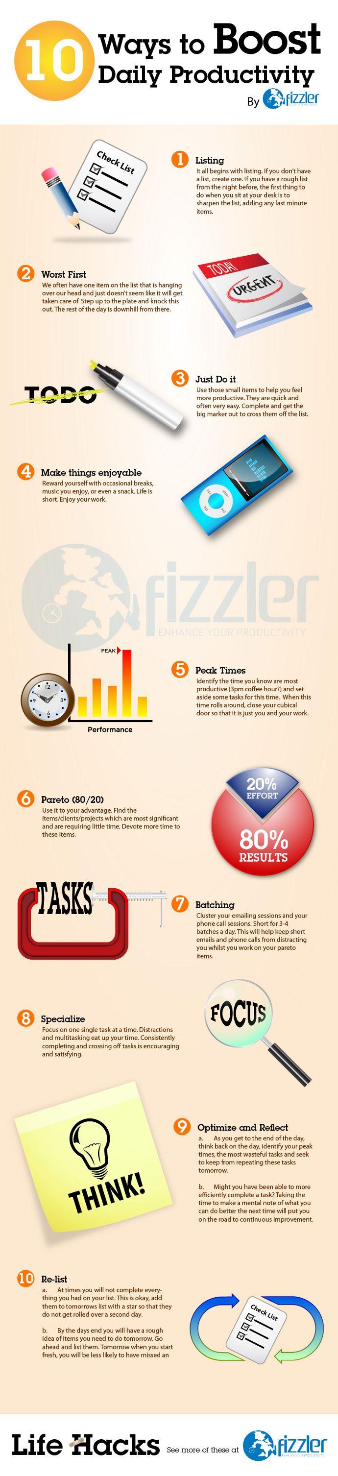10 ways to Boost daily #Productivity. #smallbiz#marketing www.sourcepep.com/80-20-blog/
