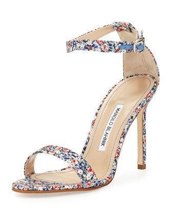 Chaos Floral-Print 105mm Sandal, Blue by Manolo Blahnik at Neiman Marcus. #manoloblahnikheelsbergdorfgoodman #manoloblahnikheelsblue #manoloblahnikheelsneimanmarcus