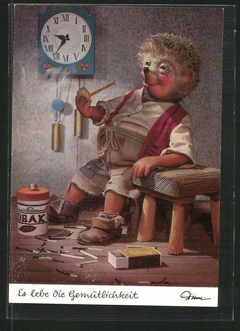 schöne AK Mecki raucht Pfeife, Es lebe die Gemütlichkeit in Sammeln & Seltenes, Ansichtskarten, Motive | eBay
