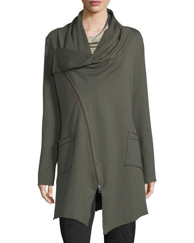 Asymmetrical Zip-Car Coat