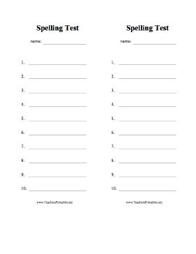 Two blank spelling test sheets with space for 10 answers