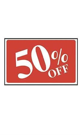 Red 50% Off Sale Sign - White Font