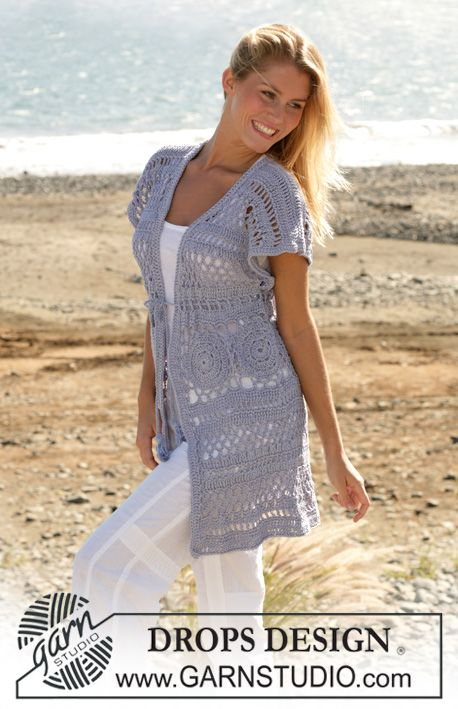 """DROPS long sleeves less cardigan with wide shoulders crochet in """"Muskat"""". Sizes XS - XXL ~ DROPS Design"""