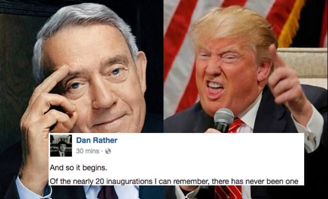 The legendary journalist watched Trump's speech and immediately took to Facebook.