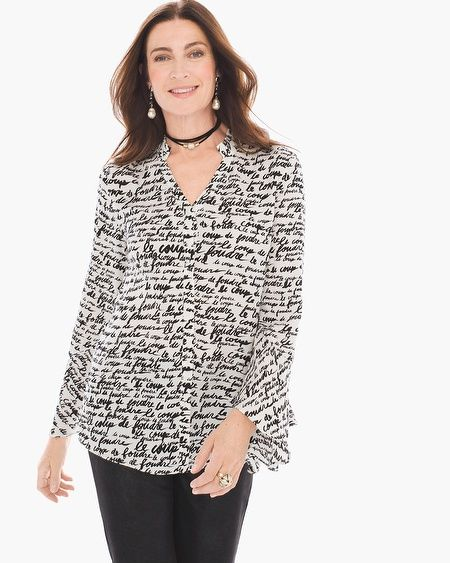 """Love in translation. A romantic poet-sleeve blouse has what the French call le coup de foudre penned in cursive all over it.   Long sleeves.  Button-up closure.  Regular Length: 27"""".  Petite Length: 25"""".  Viscose.  Machine wash. Imported."""