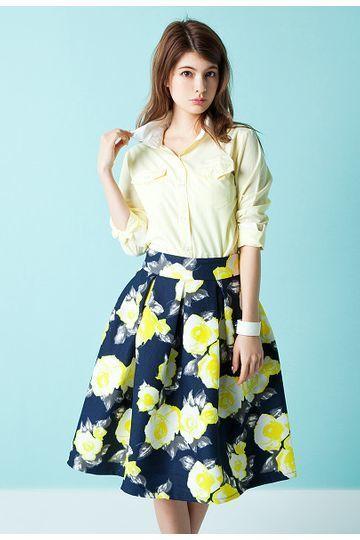 ぼかしフラワーフレアミディスカート / flower print flared skirt on ShopStyle