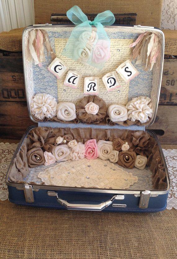 SALE Vintage Suitcase Wedding Card Box  by TheShabbyChicWedding