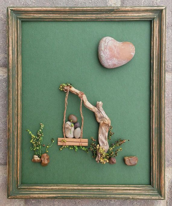 Pebble Art parent and child in a swing together by CrawfordBunch