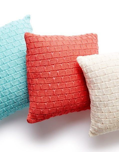 Free Knitting Pattern for Easy Pillow Trio - Large easy pillows with an interesting texturefrom Yarnspirations. Approx 20″ [51 cm] square.