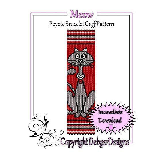 Meow  Beaded Peyote Bracelet Cuff Pattern door FUNPATTERNDESIGNS