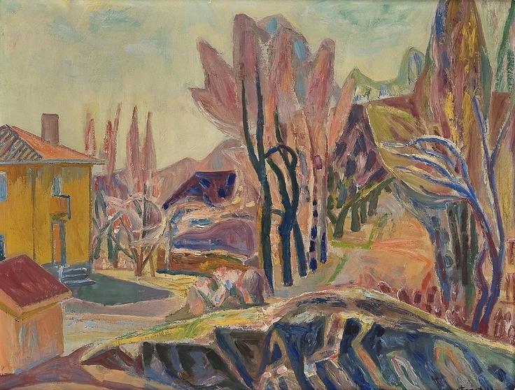 Aage Storstein (1900-1983): Hus i landskap, 1950