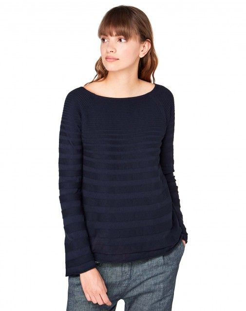 Shop Sweater with stripes Dark Blue for Crew Neck at the official United Colors of Benetton online shop.