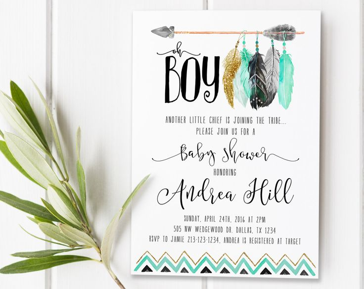 the 25+ best ideas about arrow baby shower on pinterest | tribal, Baby shower invitations