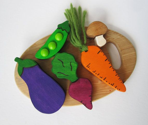 Wooden Vegtable Play food Waldorf Eco Children by Imaginationkids