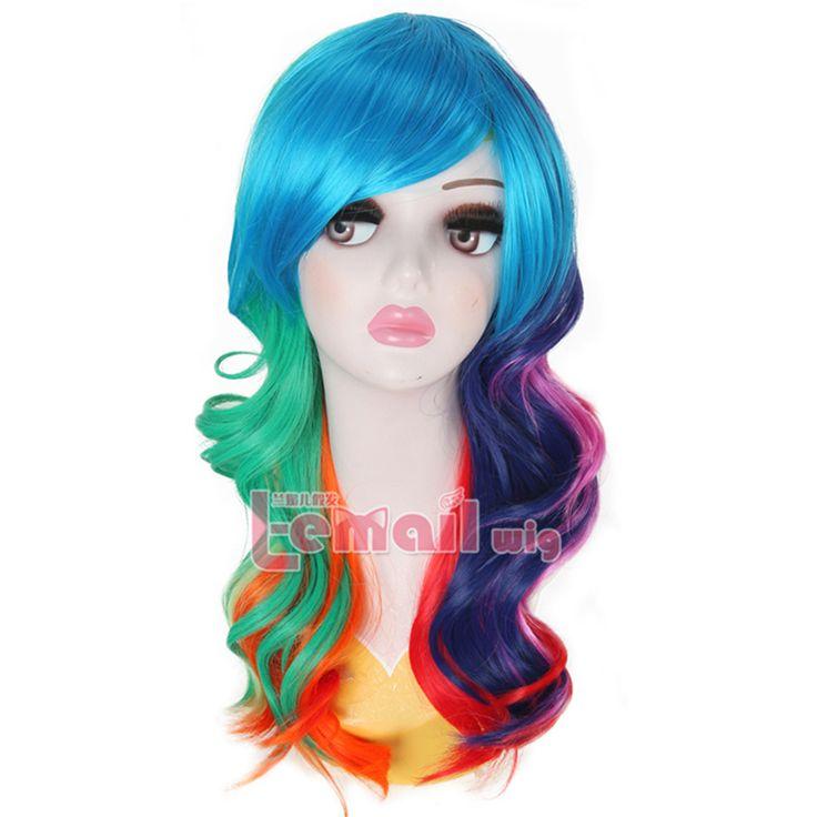 Радуга Цвет Парики 55 СМ Длинные Волны Cosplynone Синтетические Кружева модные Волосы