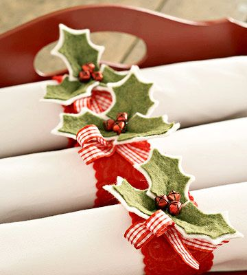 Let these handsome holly napkin rings set the tone for a festive table or buffet.