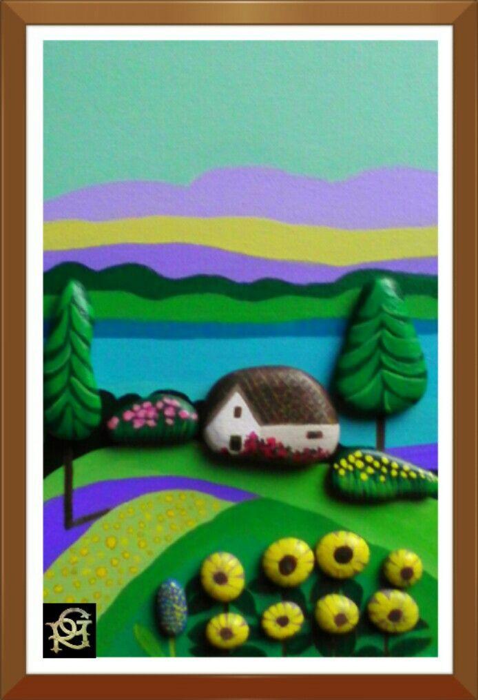 La casa sul lago-Painted  Stones di Rosaria Gagliardi