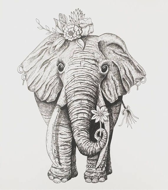 Elephant Art Female Elephant Tribal Elephant Flower