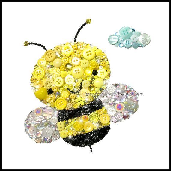 Cute Bumble Bee Decorations Button Art Bee Nursery Bees Swarovski Gender Neutral Nursery Honey Bee Wall Art Nursery Bugs Black and Yellow