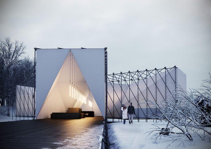 Le cabinet d'architecture anglais OS31, ont gagné un concours pour la conception de ce premier restaurant temporaire de plein air sur une étendue d'eau gelée.