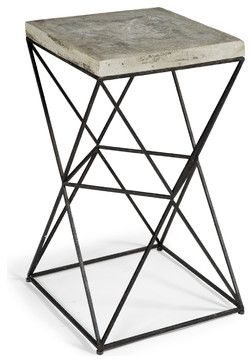 Eames Metal Concrete Square End Table - transitional - Side Tables And End Tables - Kathy Kuo Home