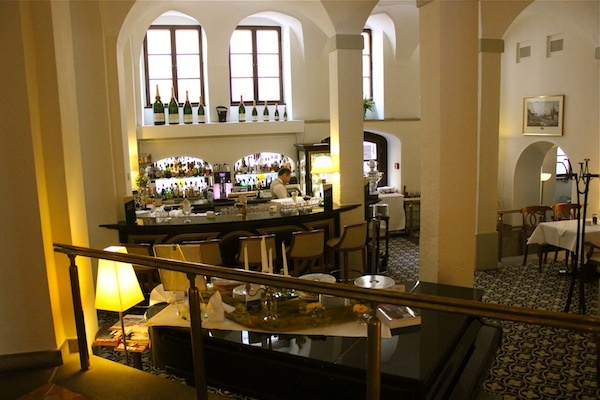 March 15, 2013. The lobby bar at the Westin along the Elbe River in Dresden Germany.