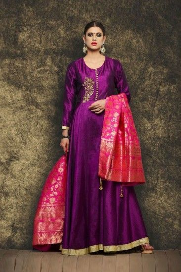 bd3641c55d Gorgeous Purple Silk Anarkali Suit With Dupatta - DMV15051 | Andaaz Fashion  New Collection 2017-2018 in 2019 | Silk anarkali suits, Anarkali suits,  Anarkali