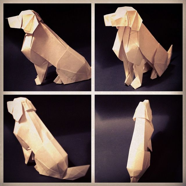 Golden retriever by origami artist Joseph Wu