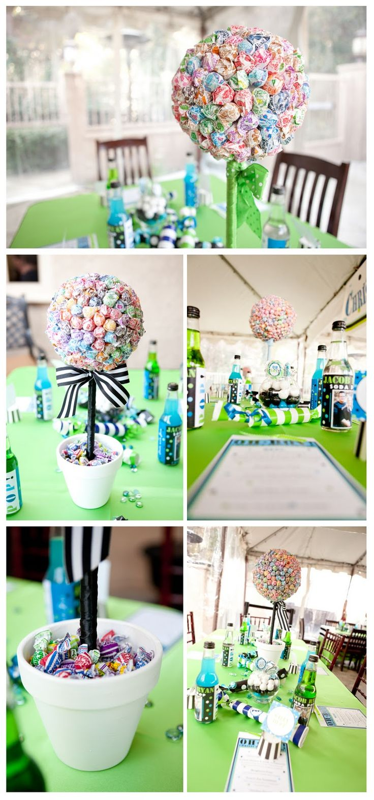 ready to pop table decor.  Planning 2 of these for the food table.  One dum dum, and one Blow Pop or Tootsie pop?