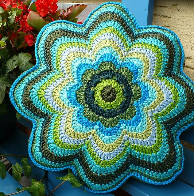 Love this crochet cushion - great colours