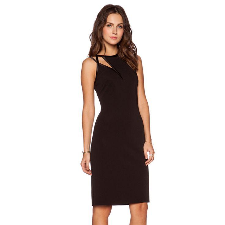 Black Women Knee-length Dress Sleeveless Cold Shoulder Crew Neck Bodycon Dress Women High Waist Party Club Dress