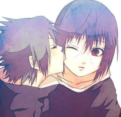 Kawaii! :3 Sasuke giving Itachi a kiss on the cheek.
