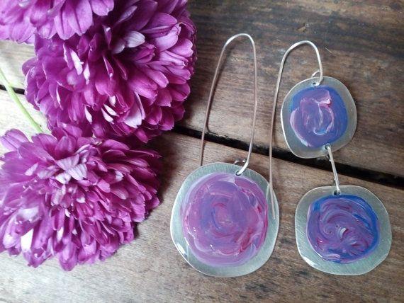 Handpainted earrings Painted earrings with Acrylic by AnKaArts