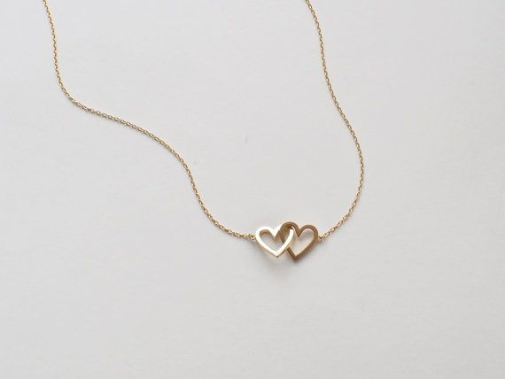 Double Heart Necklace in Sterling Silver, 18k Gold Fill or Rose Gold Fill. Simple Minimal Necklace - Modern and elegant everyday jewelry. - Quality