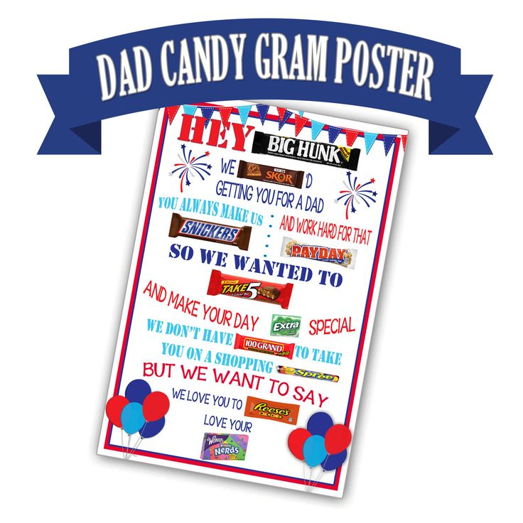Candy Gram Poster for Dad, Candy Bar Poster, Birthday Gift for Dad, Printable Fathers Day Gift for Dad, Father's Day