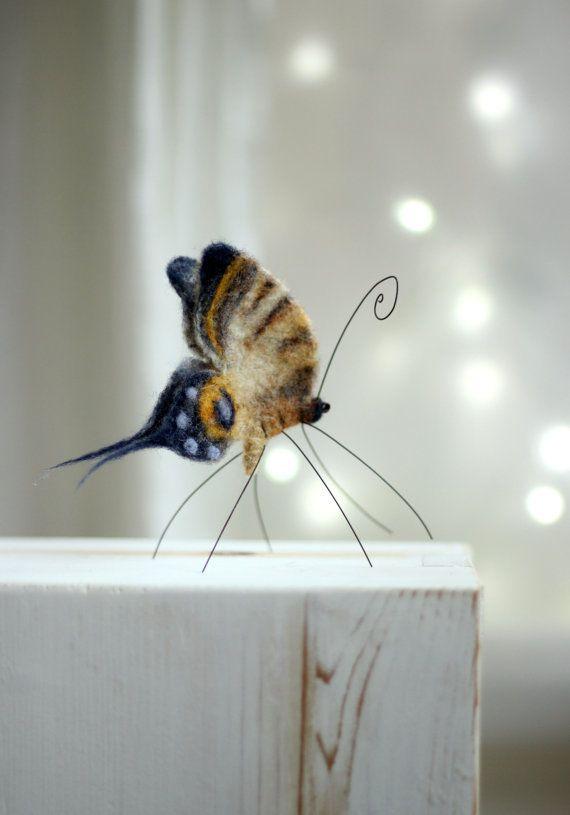 Needle Felt Butterfly Tiger Butterfly Home by FeltArtByMariana
