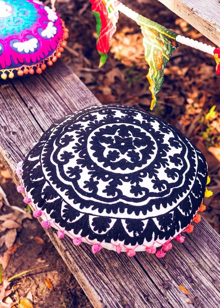 Round Embroidery Cushion | Bohemian Decor Accessories | SoulMakes