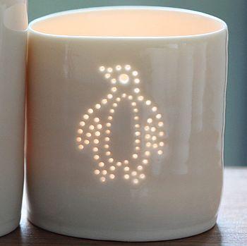 Cute white porcelain penguin tea light by luna lighting