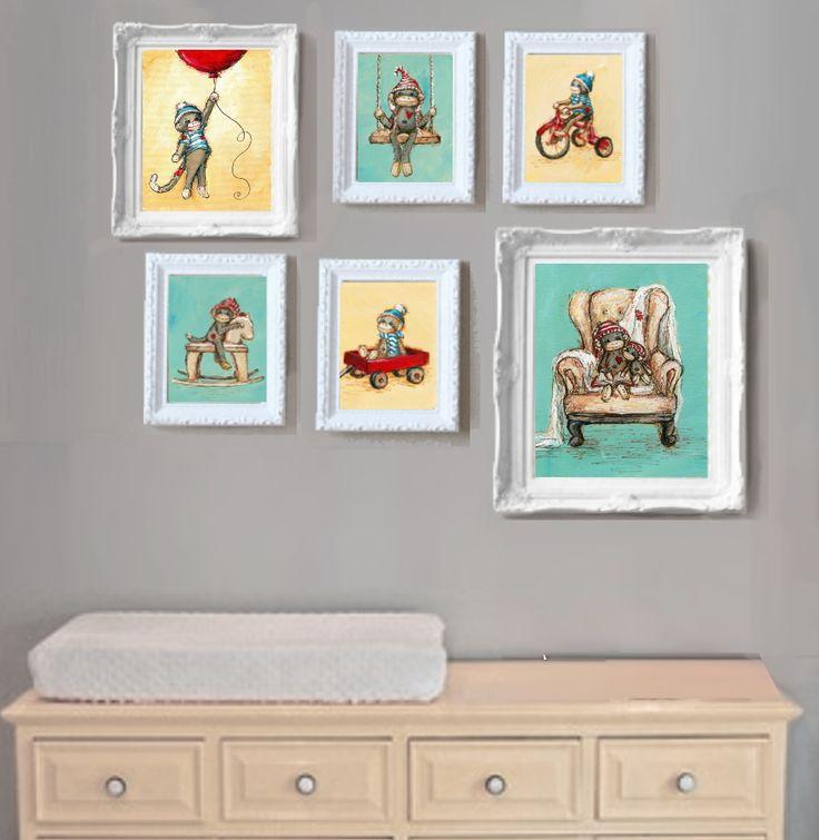 Sock Monkey Nursery Gallery Wall By Jenny Dale Designs  Www.jennydaledesigns.etsy.com